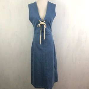 NEW Anthro Steele Freja Rope Tied Denim Dress S
